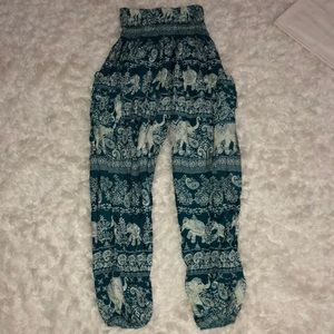 Pants - Flowy green and white pants with elephants